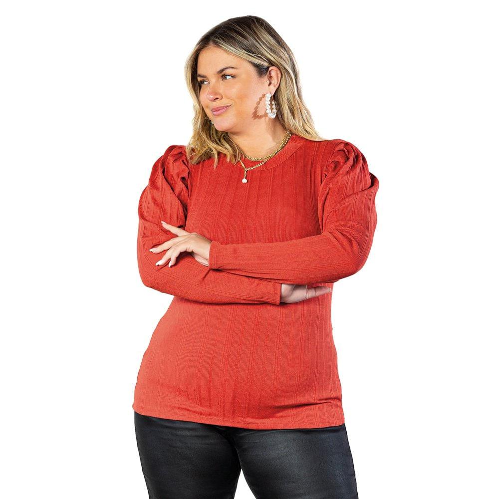 Blusa Feminina Doce Trama Lisamour Plus Size Terracota